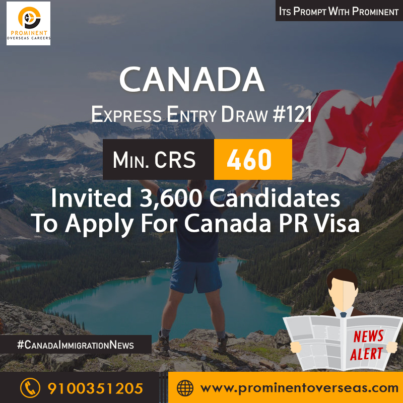 Express Entry Draw #121: Invited 3600 candidates with min  CRS 460